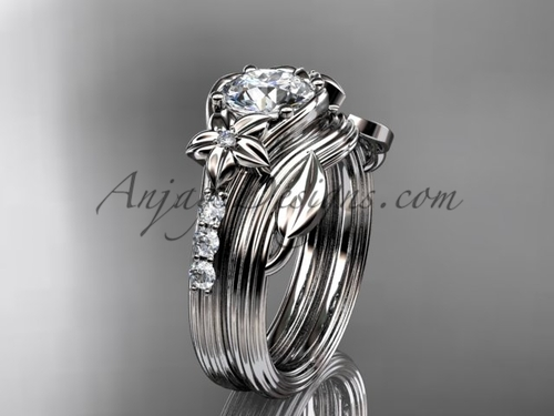 Diamond Flower Platinum Wedding Set ADLR333S