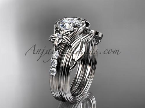 Forever One Moissanite Flower White Gold Wedding Set ADLR333S
