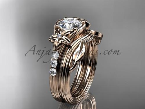Forever One Moissanite Flower Rose Gold Wedding Set ADLR333S