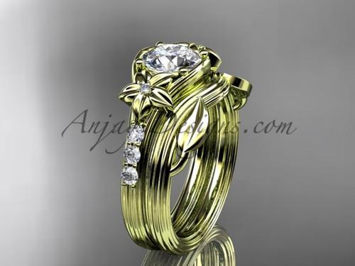 Forever One Moissanite Flower Yellow Gold Wedding Set ADLR333S