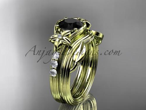 Yellow Gold Flower Black Diamond Wedding Set ADLR333S