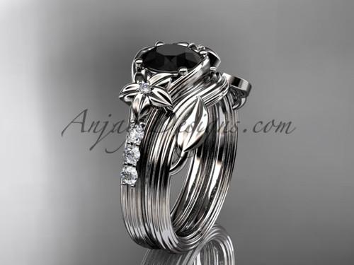Platinum Flower Black Diamond Wedding Set ADLR333S
