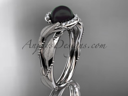 White Gold Black Pearl Vine & Leaf Engagement Ring ABP65