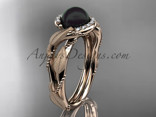 Rose Gold Black Pearl Vine & Leaf Engagement Ring ABP65