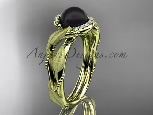Yellow Gold Black Pearl Vine & Leaf Engagement Ring ABP65