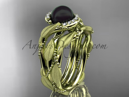 Yellow Gold Black Pearl Vine & Leaf Wedding Set ABP65S