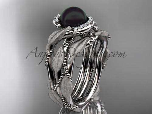 Platinum Black Pearl Vine & Leaf Wedding Set ABP65S