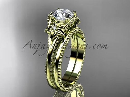 Flower Wedding Set Yellow Gold Sapphire Bridal Ring ADLR375S
