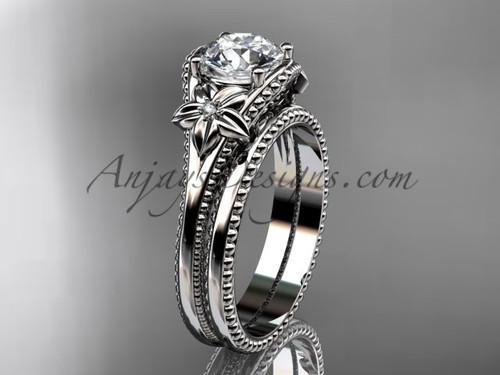Flower Wedding Set Platinum Sapphire Bridal Ring ADLR375S