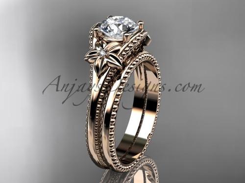 Flower Wedding Set Rose Gold Moissanite Ring ADLR375S