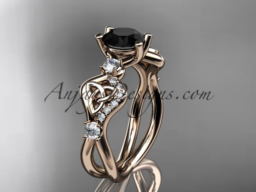 Black Stone Wedding Rings Rose Gold Celtic Rings CT768
