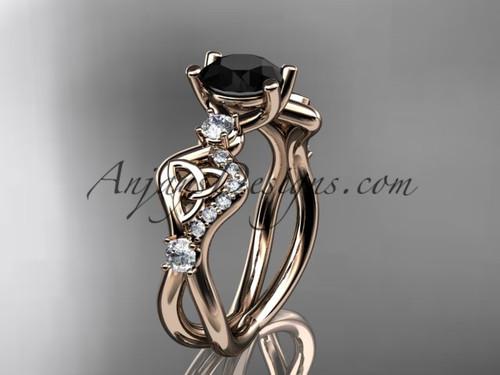 Black Stone Wedding Rings Rose Gold Celtic Rings CT768