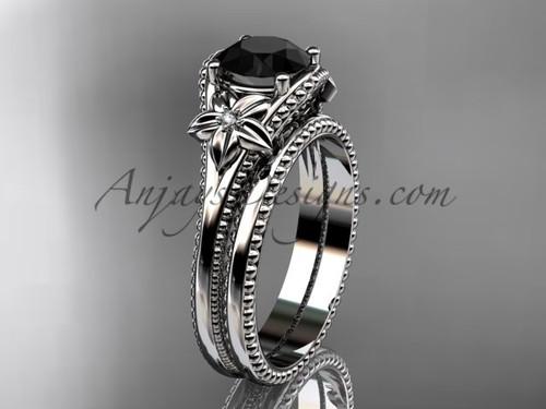 Flower Wedding Set White Gold Black Diamond Ring ADLR375S
