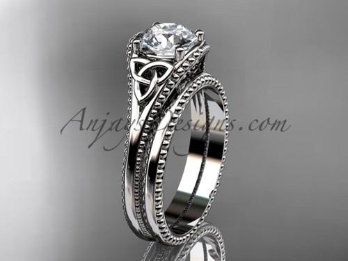Celtic Knot Wedding Rings Sets White Gold Diamond Ring ADLR375S