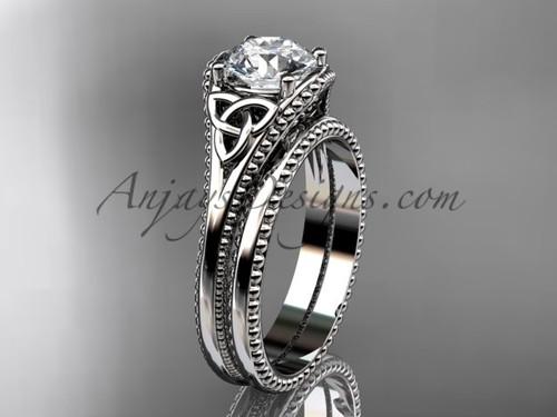 Celtic Knot Wedding Sets Platinum Sapphire Ring CT7375S