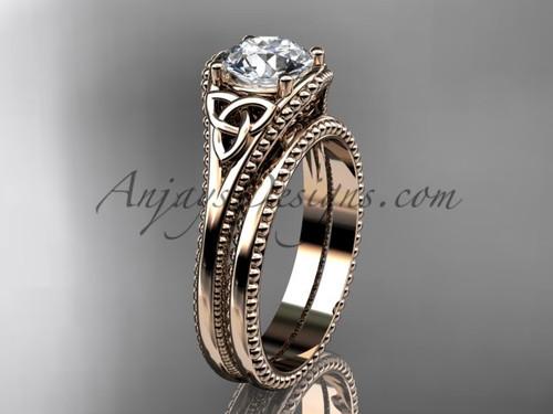 Moissanite Celtic Knot Wedding Sets Rose Gold Ring CT7375S