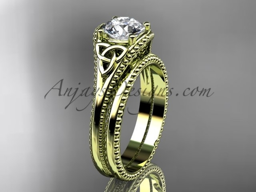 Moissanite Celtic Knot Wedding Sets Yellow Gold Ring CT7375S