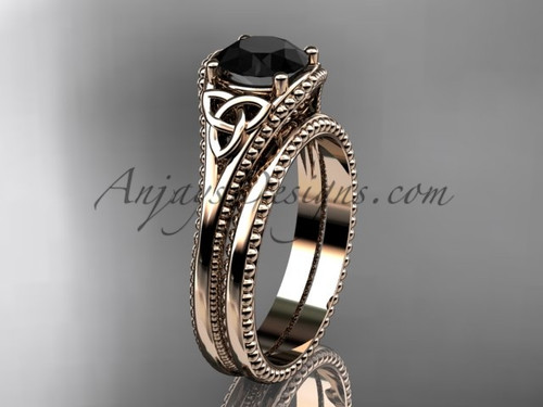Black Diamond Celtic Wedding Sets Rose Gold Ring CT7375S