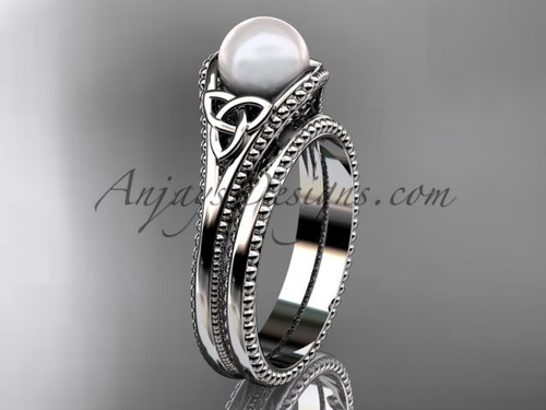 Celtic Knot Wedding Sets White Gold Pearl Ring CTP7375S