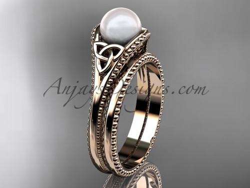 Celtic Knot Wedding Sets Rose Gold Pearl Ring CTP7375S