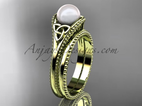 Celtic Knot Wedding Sets Yellow Gold Pearl Ring CTP7375S