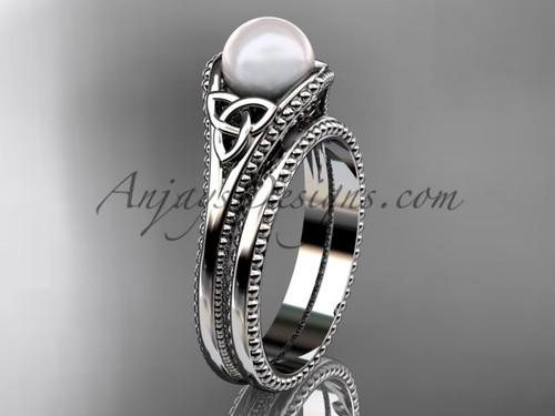 Celtic Knot Wedding Sets Platinum Pearl Ring CTP7375S