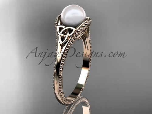 Pearl Celtic Knot Wedding Ring Rose Gold Ring CTP7375