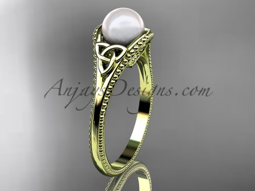 Pearl Celtic Knot Wedding Ring Yellow Gold Ring CTP7375