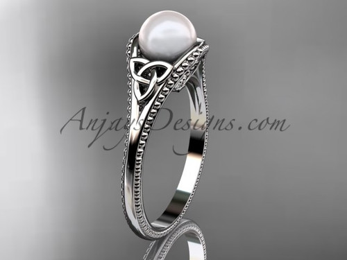 Pearl Celtic Knot Wedding Ring Platinum Ring CTP7375