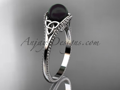 Round Tahitian Black Cultured Pearl Celtic Knot Wedding Ring White Gold Ring CTBP7375