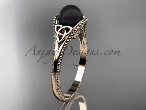 Black Pearl Celtic Bridal Ring Rose Gold Ring CTBP7375