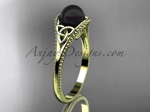 Black Pearl Celtic Bridal Ring Yellow Gold Ring CTBP7375