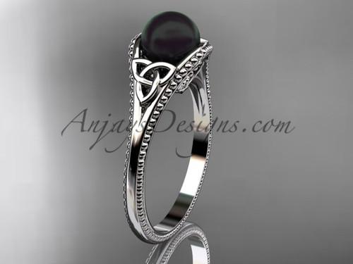 Black Pearl Celtic Bridal Ring Platinum Ring CTBP7375