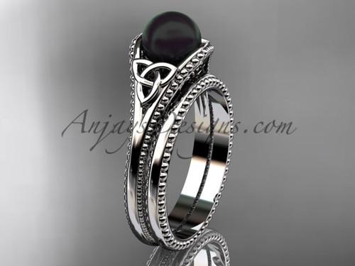 Black Pearl Celtic Bridal Set White Gold Ring CTBP7375S