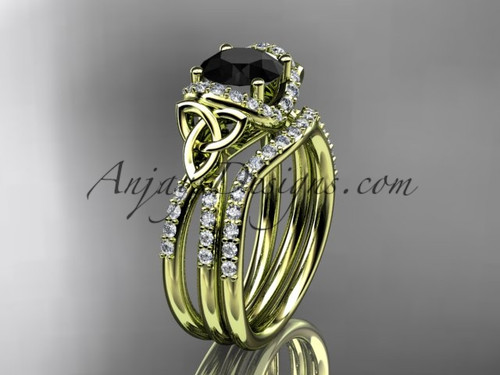 14kt yellow gold diamond celtic trinity knot wedding ring, engagement set with a Black Diamond center stone CT7155S