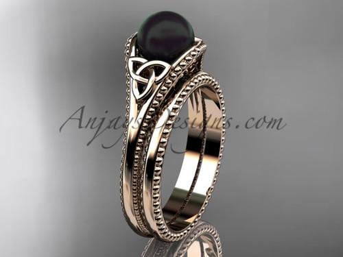 Black Pearl Celtic Bridal Set Rose Gold Ring CTBP7375S