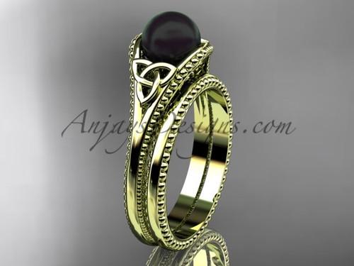 Black Pearl Celtic Bridal Set Yellow Gold Ring CTBP7375S