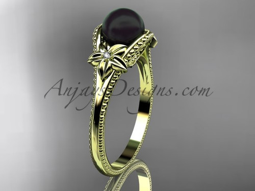 Black Pearl Flower Bridal Ring Yellow Gold Ring ABP375