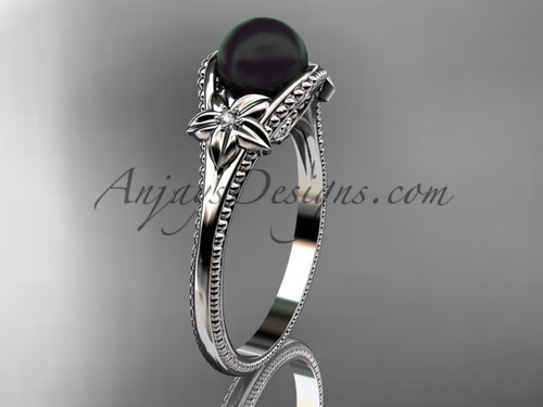 Black Pearl Flower Bridal Ring Platinum Ring ABP375