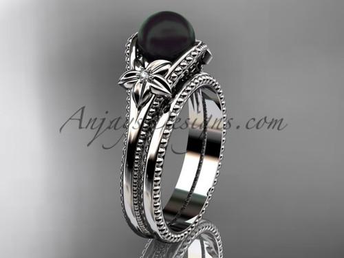 Black Pearl Flower Wedding Set White Gold Ring ABP375S