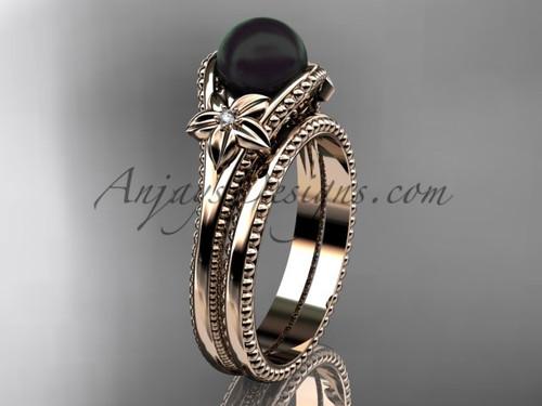 Black Pearl Flower Wedding Set Rose Gold Ring ABP375S