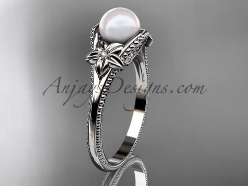 Flower Pearl Wedding Ring White Gold Ring AP375