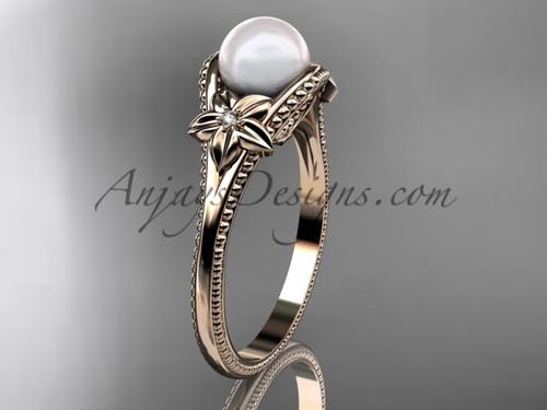Flower Pearl Wedding Ring Rose Gold Ring AP375