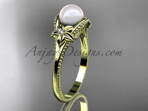Flower Pearl Wedding Ring Yellow Gold Ring AP375