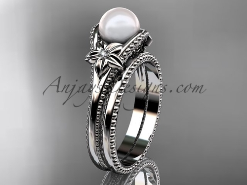 Flower Pearl Wedding Set White Gold Ring AP375S