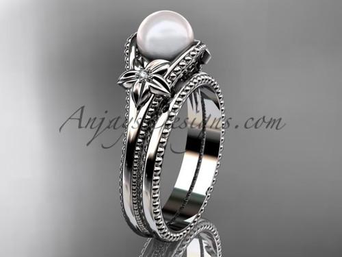 Flower Pearl Wedding Set Platinum Ring AP375S