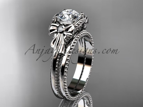 Bow Wedding Set White Gold Sapphire Engagement Ring ADLR376S