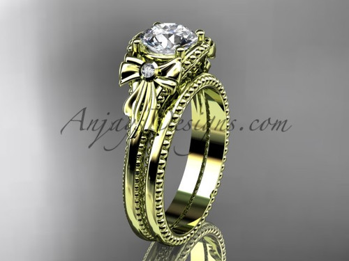 Bow Wedding Set Yellow Gold Engagement Ring ADLR376S