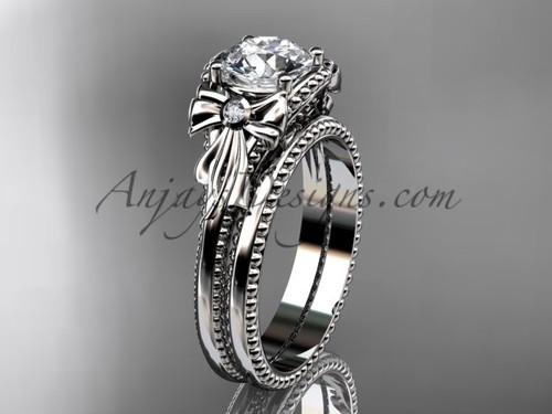 Bow Wedding Set Platinum Sapphire Engagement Ring ADLR376S