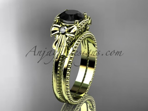 Wedding Set Yellow Gold Black Diamond Bow Ring ADLR376S